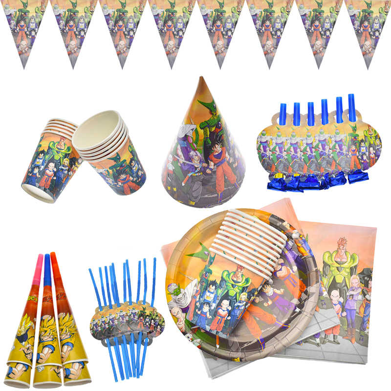 Dragon Ball Thema Kids Jongens Gunsten Party Deco Baby Douche Blow Out Vlaggen Borden Cup Hoorn Servetten Feestartikelen Servies set