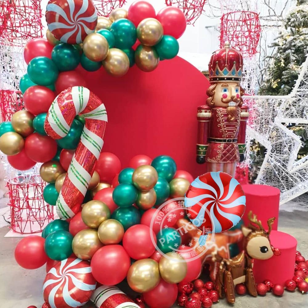 1 zestaw 97 sztuk Christmas Balloon Garland Arch zestaw czerwony biały cukierki balony 3D Deer folia piłka DIY święty mikołaj Navidad laski Globos