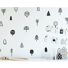 Cute Woodland Pine Tree Wall Decals Nursery Art Decor Forest Vinyl Stickers Kids Bedroom Natural Decoration LW310