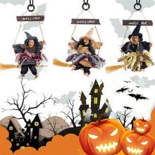 2020 Halloween Hanging Doll Decoration Ghost Witch Horror Scary Hanging Ghost Flying Witch Pendant Festival Bar Decoration 7P(China)