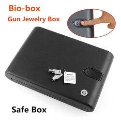 Сейф с проверкой отпечатков пальцев коробка твердый стальной безопасности ключ пистолет ценности шкатулка для ювелирных изделий переносн...