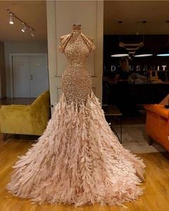Image 2 - Glitter Gold Pailletten Meerjungfrau Feder Afrikanische Prom Kleider Langarm Eine Schulter Abendkleid Plus Größe Graduation Formal Kleid