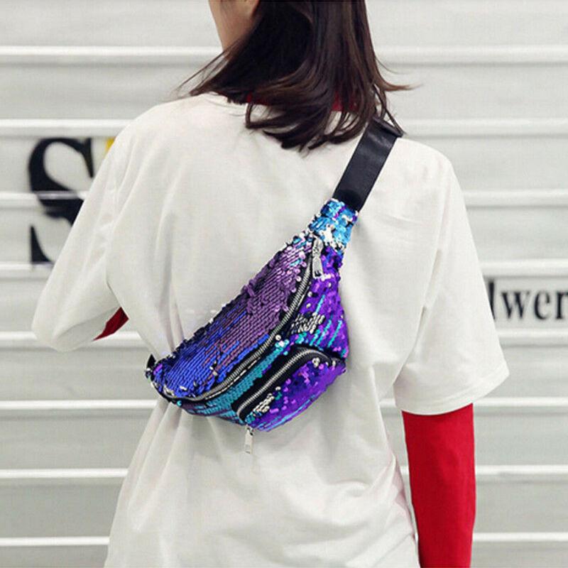 2019 Fashion Brand New Hot Women Girls Sequins Glitter Waist Bag Fanny Pack Pouch Hip Purse Satchel Gift