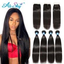 Необработанные индийские пучки прямых и волнистых волос 4 пучка с закрытием 100% человеческие волосы 4x4 кружева с пучками Remy волосы для наращивания