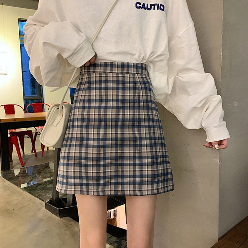 Women's Skirt Fashion New Plaid Skirt High Waist Skirts Womens Slim Temperament A Line Skirt College Style Faldas Mujer Moda
