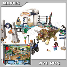 471Pcs Jurassic World Triceratops Rampage Egg Spinner ride Tourist 11336 Model Building Blocks Boys Kids Compatible With Lego(China)