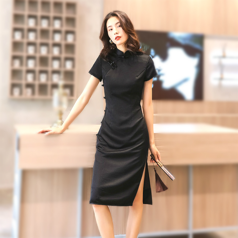 Sheng Coco Elegant Temperament Designer Cheongsam Dress Solid Color Black Soft Chinese Style Qipao Sexy Plus Size