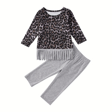 Casual Toddler Girl Clothes Boutique Kids Clothing New Leopard Print Round Neck Long Sleeves Top+Pants 2/Pcs Suit For Hot
