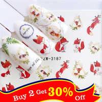 1 PC renard/flamant rose/cheval/fleur transfert d'eau Nail Art autocollant beauté décalque ongles Art décorations