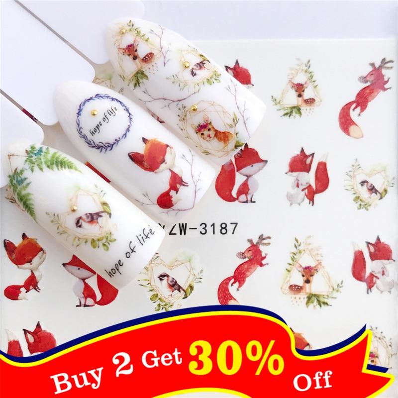 1 pc raposa/flamingo/cavalo/flor transferência de água etiqueta da arte do prego beleza decalque unhas arte decorações