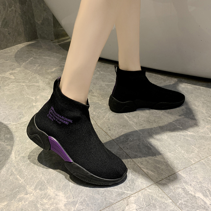 Socks shoes women summer new wild casual breathable elastic high-top sneakers socks boots 2019 autumn women shoes 26