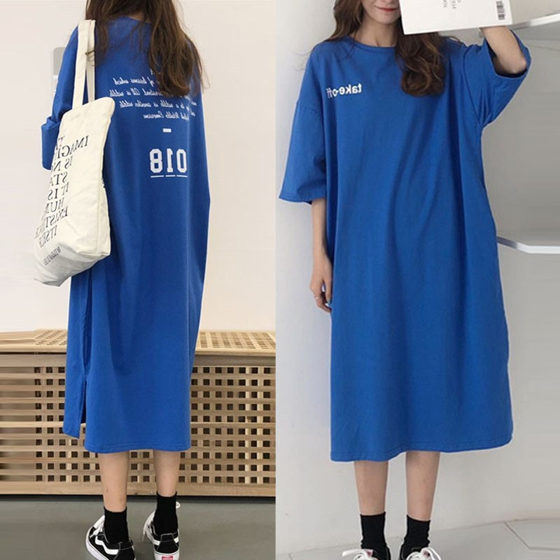 Short Sleeve Nightgown Women's Summer Nightgown Blue 018ff Lettered Skirt M-XXL (15 Yuan) 2019 New Style