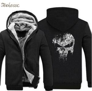 Image 2 - Super Hero  Skull Sweatshirts Men 2018 New Winter Fleece Print Thick Hoodies Jacket Hoddie Streetwear Hip Hop Male