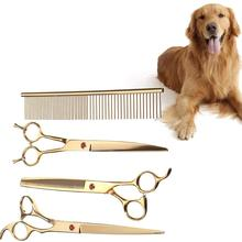 WINOMO 7 Inch Pet Dog Safety Scissors Set With Comb Grooming Thinning Animal Cutting Scissors Tools For Pet Grooming