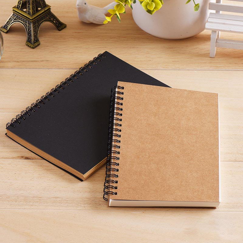 Sketchbook Diary for Drawing Painting Graffiti Soft Cover Black Paper Sketch Book Memo Pad Notebook Office School Supplie 1