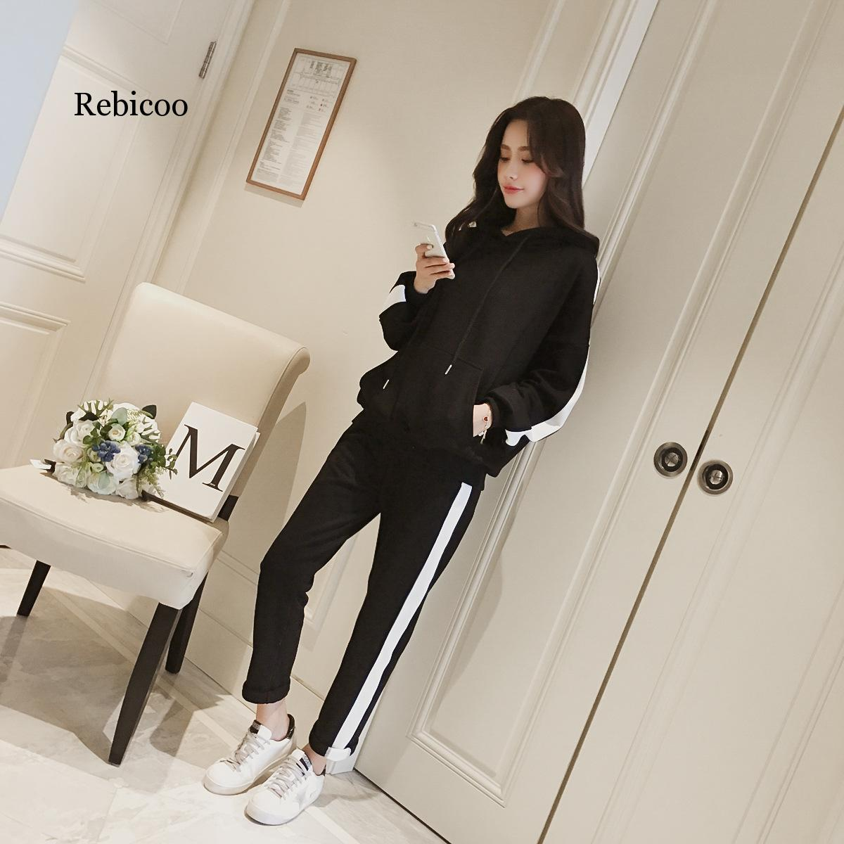 2019 female autumn new Korean version of the loose hooded student leisure sports two piece suit in Hoodies amp Sweatshirts from Women 39 s Clothing
