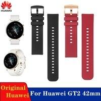 Originele 20Mm Vervanging Lederen Band Voor Huawei Gt 2 42Mm Horloge Band Honor Magic 2 42Mm Rubber silicon Band