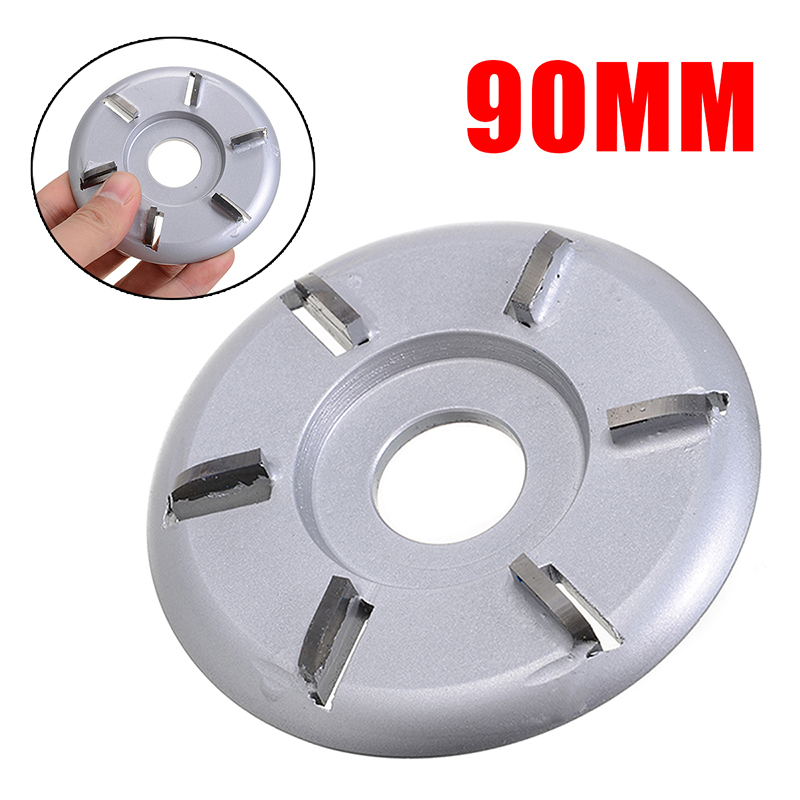 90mm Diameter 22mm Bore 6-tooth Woodworking Plane Carving Disc Milling Cutter Durable Angle Grinder Accessories