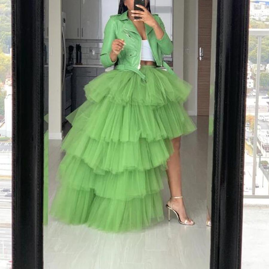 2020 Spring Grass Green Ruffles Tiered High Low Tulle Skirts Women Elastic Custom Made Long Puffy Tulle Skirt Women Fashion Tutu