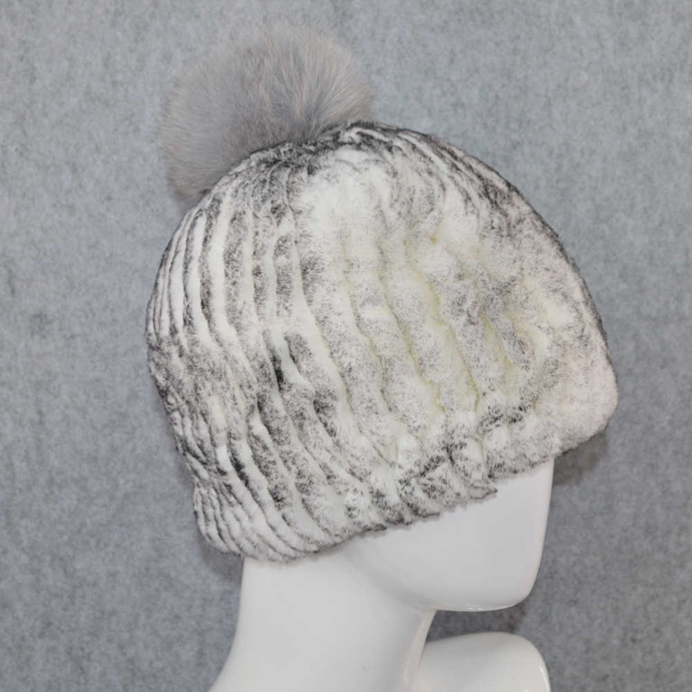 冬ロシアの天然レックスウサギの毛皮の帽子女性 Elasitc 暖かいソフト手作りニットリアルファーキャップキツネの毛皮のポンポンビーニー帽子