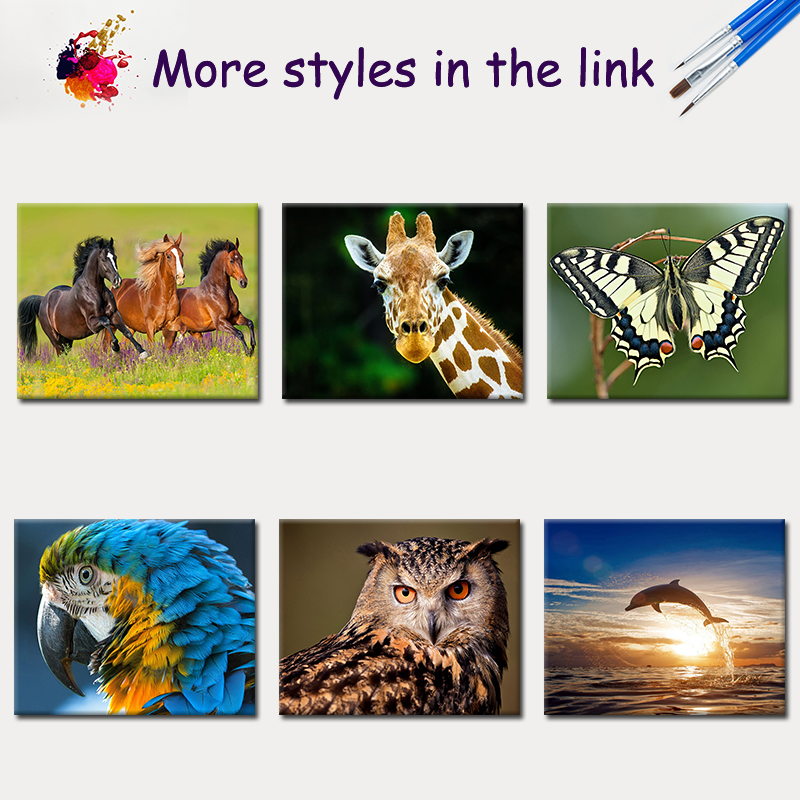 SDOYUNO pictures by numbers Animals 60x75cm DIY Frameless Draw Number Oil Painting By Numbers On Canvas For Unieque Gift in Painting Calligraphy from Home Garden