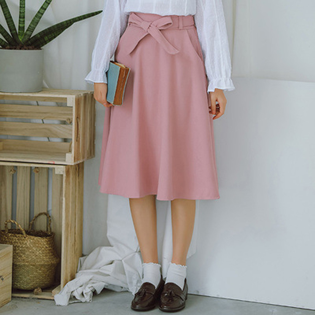 Sweet Stylish Designed Women's Bow Cotton Skirt Comfortable High Waist Solid Mid Length Skirt Ladies Daily Casual Bandage Skirt