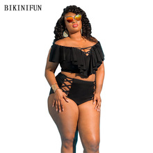 New Sexy Plus Size L-5XL Bikini Women Swimsuit Flat Shoulder Swimwear Print Solid Bathing Suit High Waist Beachwear Bikini Set swimwear woman plus size 2018 push up swimsuit print floral sexy women swimwear beachwear bikini bathing suit size l 5xl