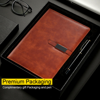 Leather Notebook Gift Packaging Top-Grade Business Planner Agenda Diary Papelaria Notepad Journal Note Book Give Away Pen