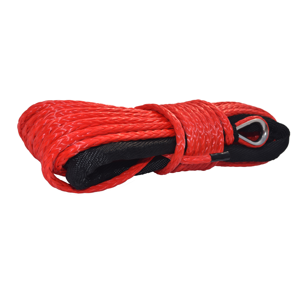 Red 6mm*15m Kevlar Winch Cable,Synthetic Winch Rope 6mm,ATV Winch Line For Small Winches