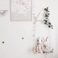Wooden Bead Storage Shelf Decorative Hanger Wall Frame Swing Kids Room Decor Hanging Decor Triangles Lightweight