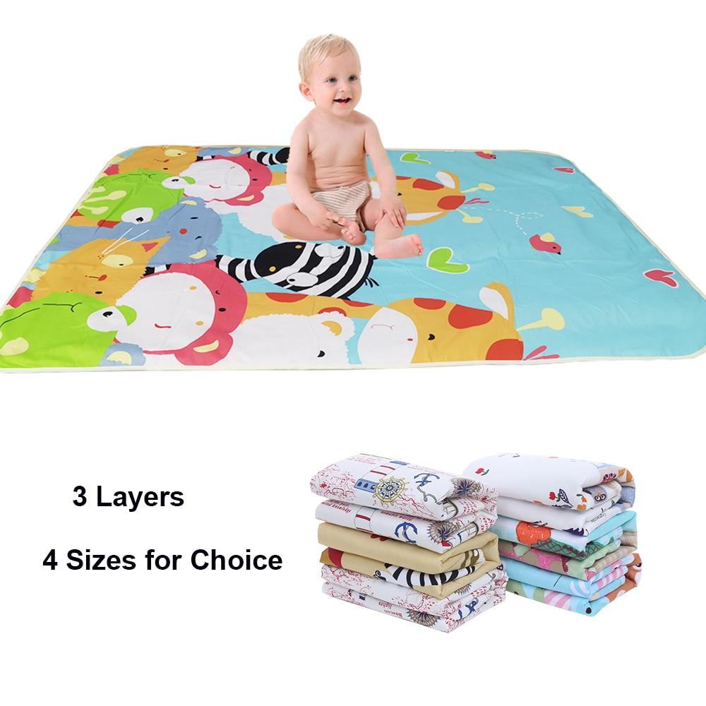 Nappy Urine Pad Sheet Mattress Changing Mat Bedding Baby Waterproof Reusable Infant Cartoon Cotton Diaper Cover
