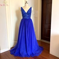 Luxury Royal Blue Prom Dresses Slit Long 2020 Zipper Pregnant Tulle Beads Sequin V Neck Backless Sweep Train Evening Gown Formal