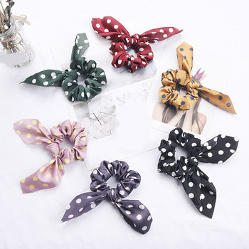 Korean Polka Dots Rabbit Ears Hair Scrunchies Streamers Hair Ring Women Elastic Rubber Bands Ponytail Holder Hair Accessories цена 2017
