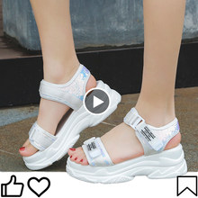 High Quality 2020 summer sandals for women wedges shoes for women platform walking stripe female buckle wedge heels(China)