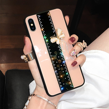 glass Inlaid diamond Crystal Butterfly Glitter Phone Case For iPhone 11 Pro XS MAX XR 7 8 6 6S Plus X Fashion Flower cover coque