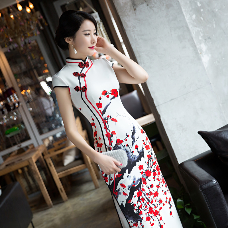 Sheng Coco 4XL White Red Plum Long Qipao Dresses Women's Evening Banquet Cheongsam Dress Beautiful Long Qipao Chinese Clothing