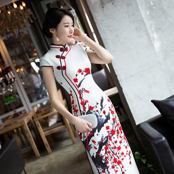 Sheng Coco 4XL biały czerwony Plum długo Qipao suknie damskie wieczór bankiet Cheongsam sukienka piękne długie Qipao chiński odzież tanie i dobre opinie spandex Skośnym Chinese qipao chinese traditional vintage collar Spring Summer Autumn Winter White background Red Plum