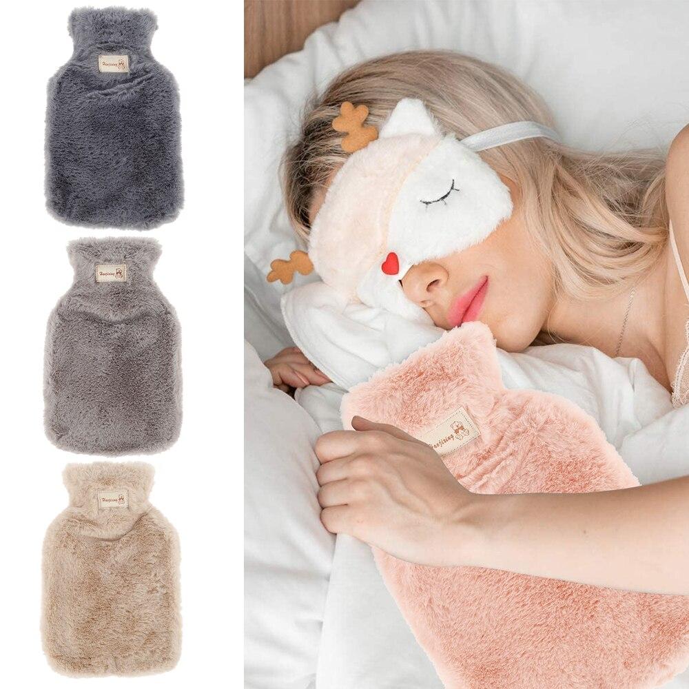 Kış sıcak su şişeleri ile saf doğal kauçuk rahat kabarık peluş Faux kürk gri kapak sırt, boyun, bel, el, yatak sıcak