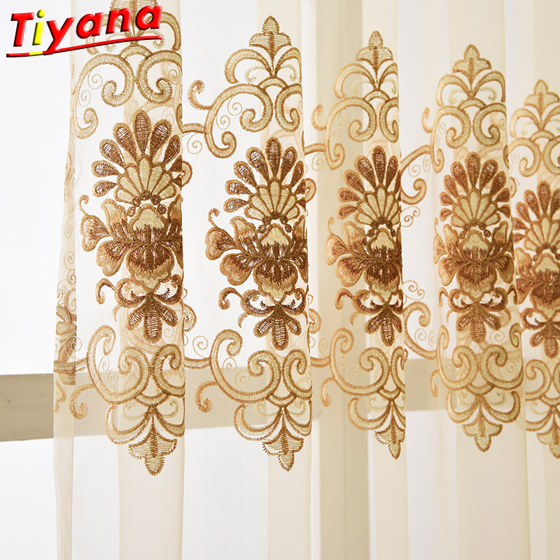 Modern Fancy Good Quality Embroidered European Curtains Cloth Voile Tulles For Decoration Living Room Bedroom Balcony X-WP160#20