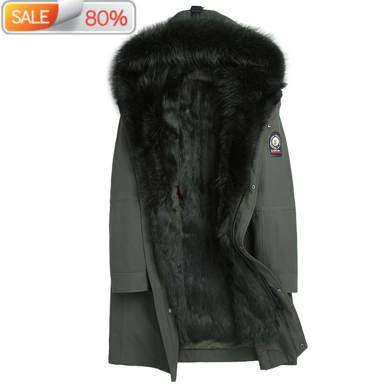 Mink Liner Parka Homme Winter Jacket Men Raccoon Fur Collar Long Parkas Plus Size Winterjas Heren PA009-2 ND1340