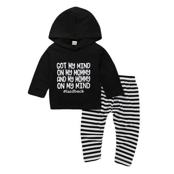 Pudcoco US Stock New Casual Newborn Baby Boy Girl Clothes Set Print Letter Hoodie Shirt Tops+Striped Pants Outfits Clothes Set