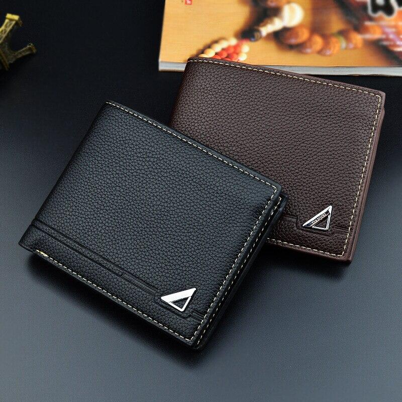 Fashion Leather Vintage Short Bifold Men Wallet Casual Wallet Men With Coin Pocket Purses Male Zipper Wallet Card Holder Male