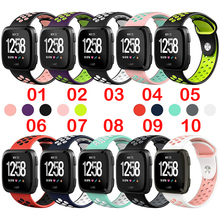 New Style Silicone Watch Strap Band Rubber Wirst Dual Color forFitbit versa Quick Release Smart Buckle