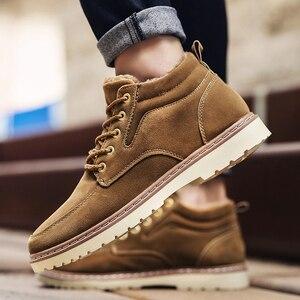 Image 1 - Hommes chaussures bottes dhiver hommes Nubuck cuir imperméable ajouter coton garder au chaud bois terre chaussures fond épais antidérapant Chelsea bottes