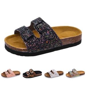 Image 3 - 2019 nowe kapcie dziecięce letnia plaża dzieci korkowe sandały błyszczące cekiny dla rodzinnych butów Leopard boso mieszkania dziewczyny pantofel