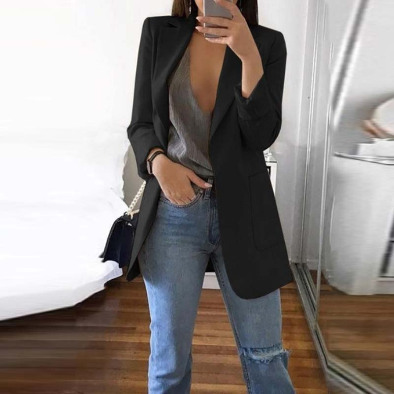 S 5XL Women Autumn Turn Down Collar Basic Jackets 2019 Fashion Long Sleeve Blazer Coats Elegant Solid Work Blazers Femme Suits