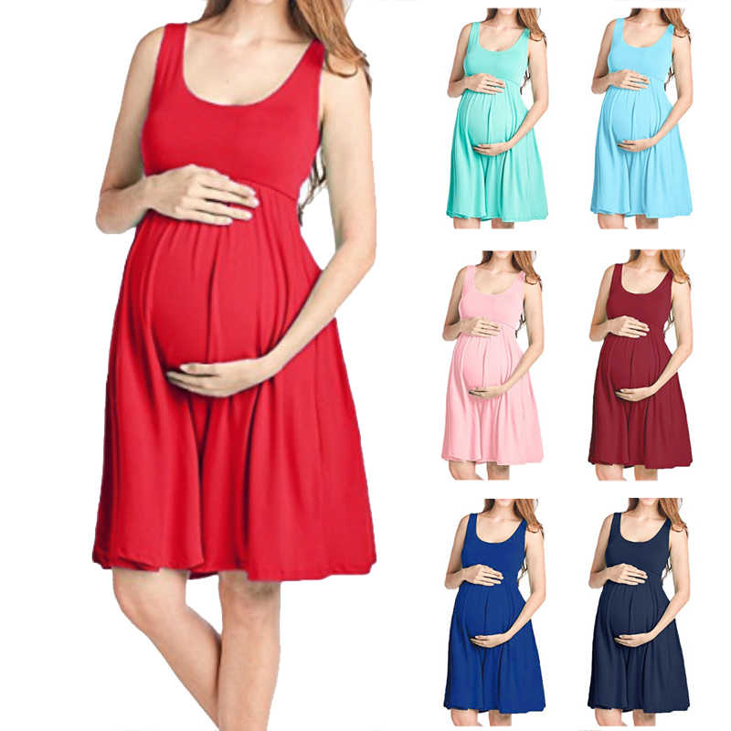 Maternity Vest Dresses Maternity Clothes Pregnant Dresses  Pregnancy Clothes Women Solid Color Formal Dress Casual O-Neck Dresse