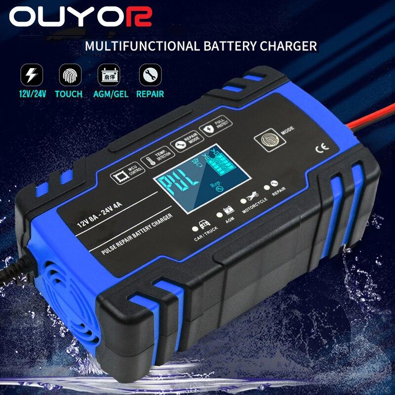 Полностью автоматическое автомобильное зарядное устройство 12 В, 8 А, 24 В, 4 а, быстрая зарядка для AGM GEL WET, свинцово-кислотный аккумулятор, заря...