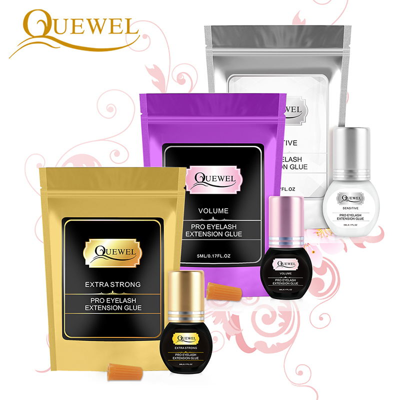 Quewel Lash Glue 5ml 1-2 S Dry Time  Eyelash Glue Eyelash Extension Glue Individual Eyelash Glue Adhesive Retention 7-8 Weeks