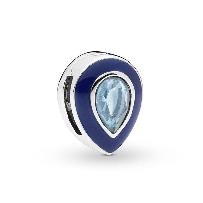 Новинка, Оригинальные 925 пробы Серебряные блики, ослепительные клипсы, подвески, бусины, подходят для браслетов Пандора, сделай сам, Женские Ювелирные изделия - Цвет: Blue Droplet Clip